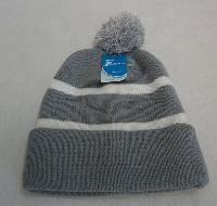 Double-Layer Knitted Hat with PomPom [Gray/White]